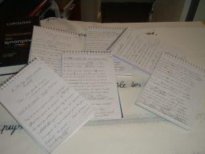 Les carnets manuscrits du poème d'un kilomètre de long, de Patrick Huet, photo des carnets