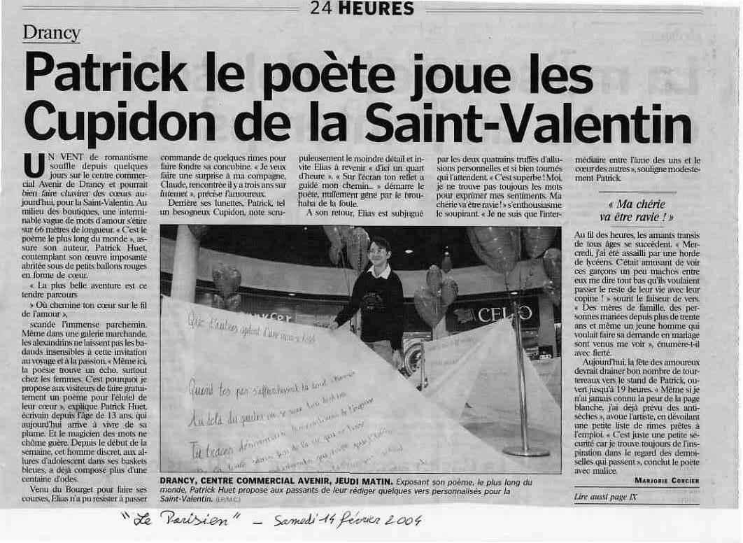 Le Parsisien article sur Patrick Huet à la St Valentin