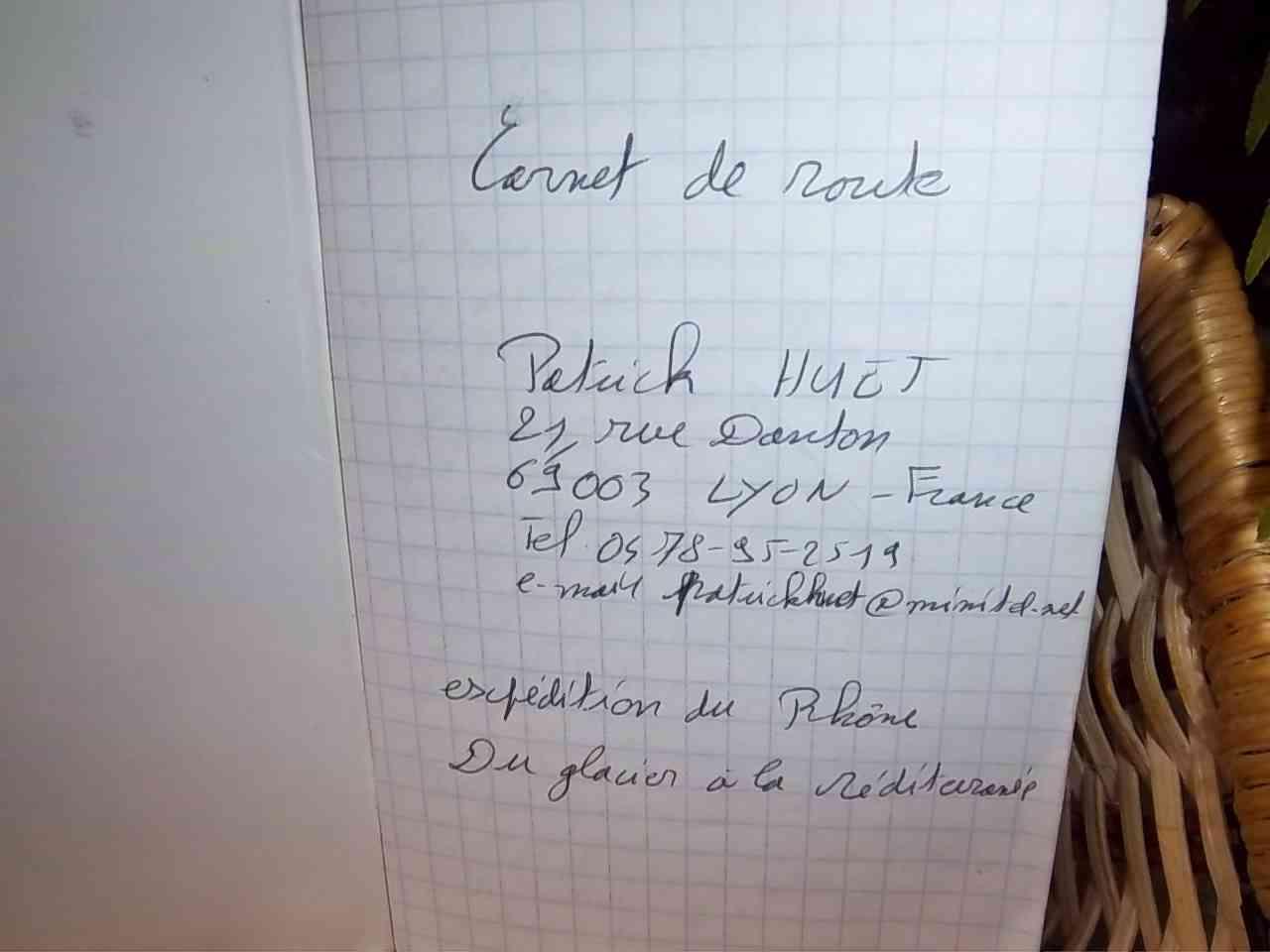Première page du carnet de voyage du Rhône