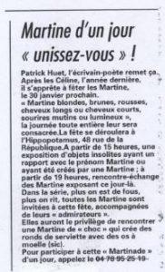 Article sur la fête des Martine dans le Progrès de Lyon