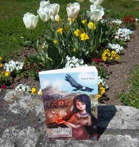 Photo d'un roman de Patrick Huet parmi les tulipes et les fleurs des champs.