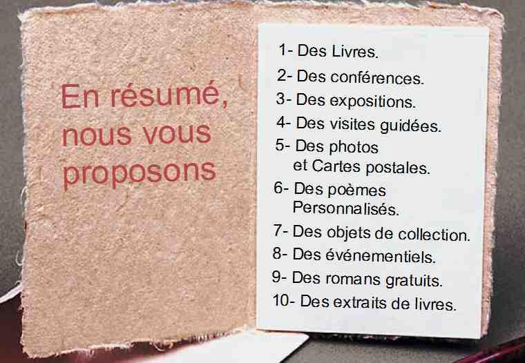 Carnet de Propositions de Patrick Huet. Livres, conférences, visites guidées et expositions.