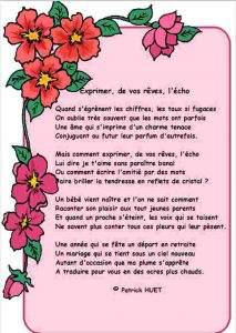 Poème sur parchemin Vos rêves en écho -écrit par Patrick Huet