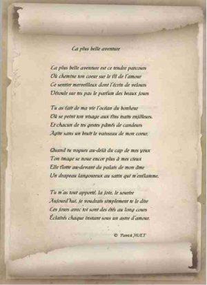 Poème sur vieux Parchemin écrit par Patrick Huet.