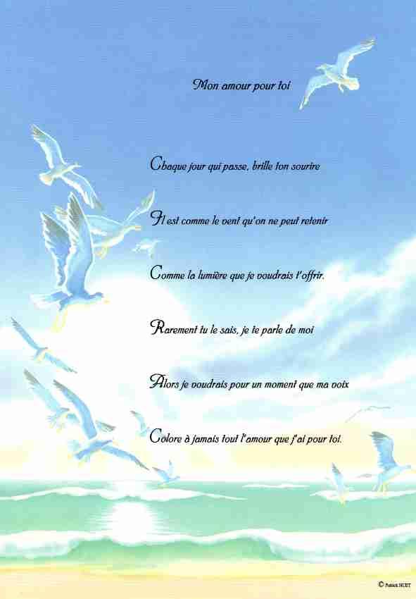 Poème sur fond de mer, de plage et de vacances - écrit par Patrick Huet.