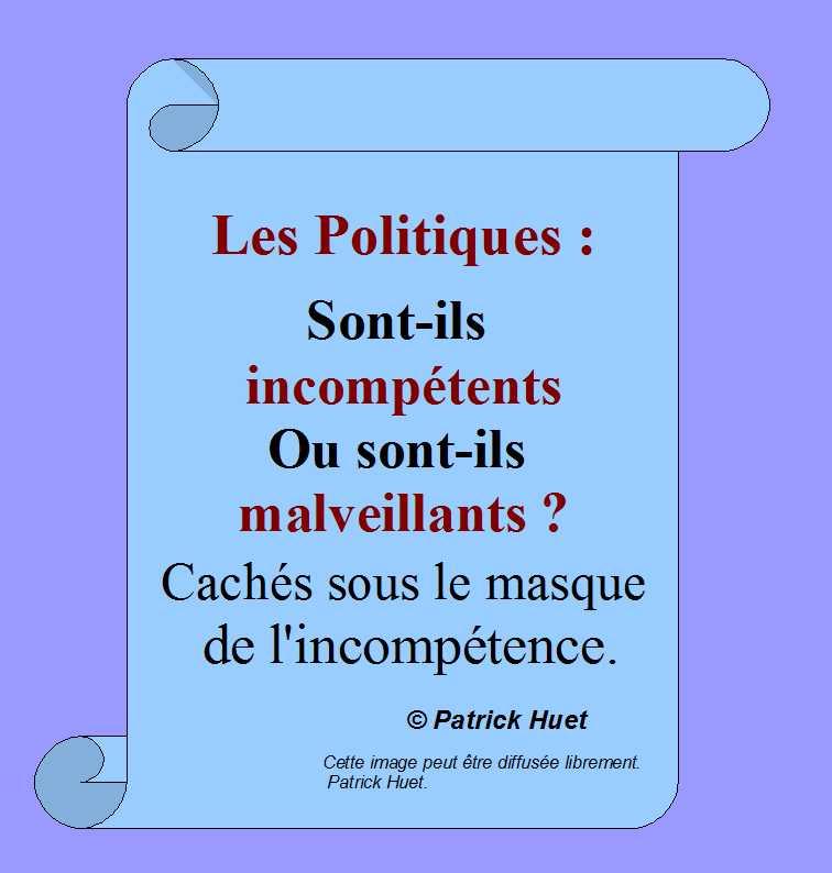 Les Politiques sont-ils incompétents ou malveillants ?- Patrick Huet