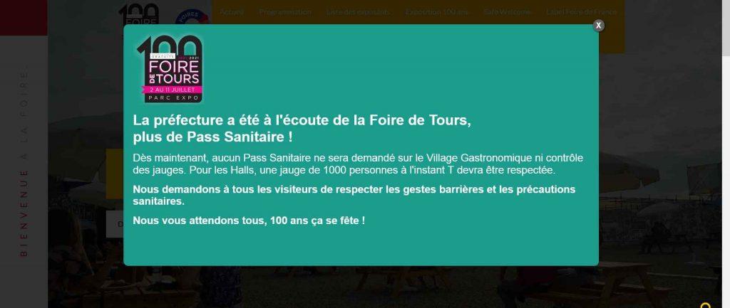 Page d'accueil du site de la Foire de Tours mentionnant la suppression du pass sanitaire obligatoire. Et le revirement du préfet.