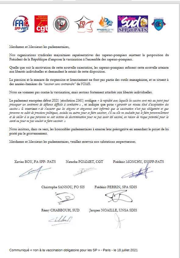 Copie de la lettre des pompiers aux députés contre l'obligation vaccinale