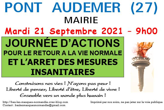 Affiche de la journée d'actions à Pont Audemer. image préparée par le collectif Bas les masques Normandie.